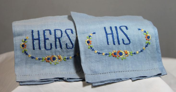 Vintage Hand Embroidered His And Hers Blue Towel Linens