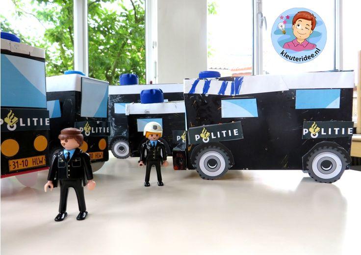 Busje van de Mobiele eenheid knutselen (ME), thema politie, kleuteridee.nl, met gratis downloads