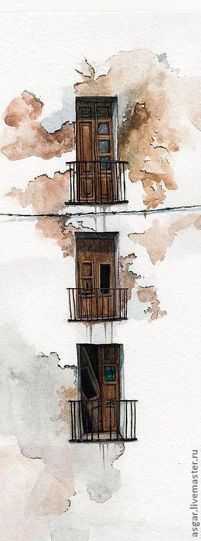 """Купить """"Триптих"""" серия """"Двери в иные миры"""" миниатюра - окно, старые окна, старый город"""