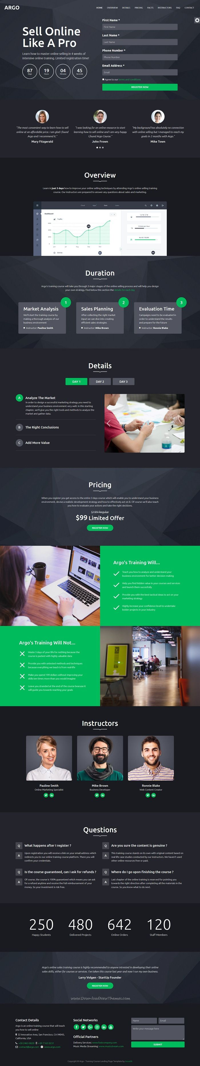 Argo is clean and modern design 6in1 responsive #HTML5 template for #edtech training #course landing page website download now..