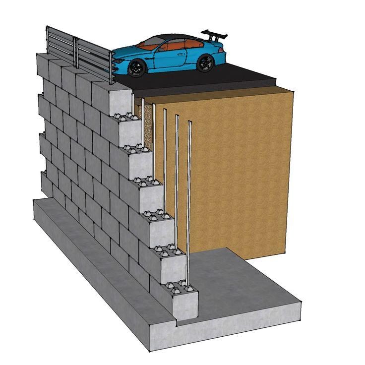 Reinforced Concrete Block Retaining Wall by www.blockwalls.co.uk