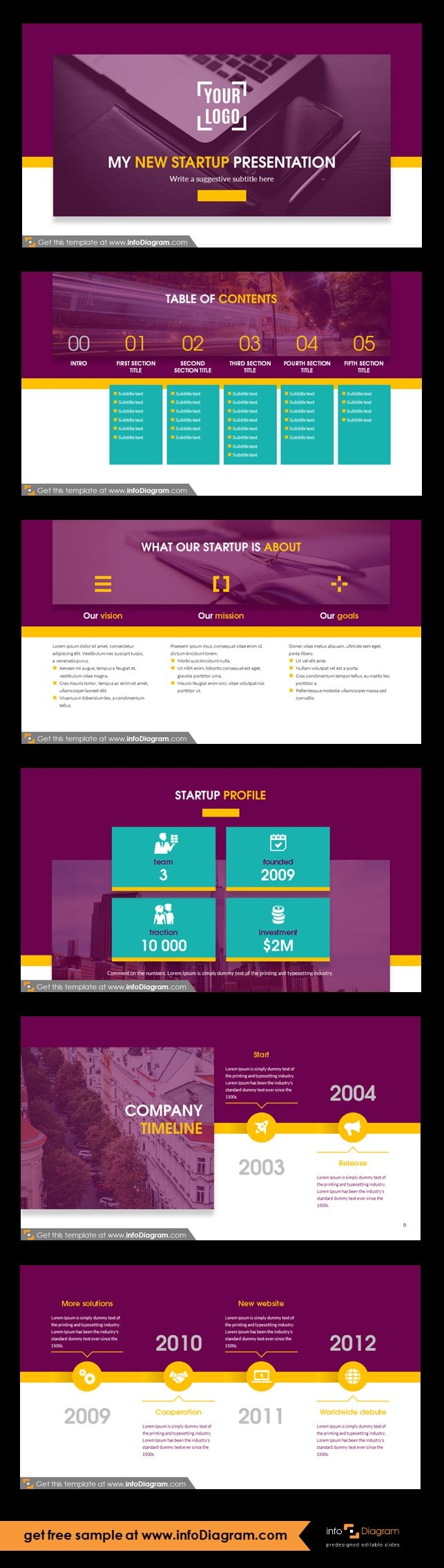 New startup company presentation template and slide deck with several layouts. Predesigned infographics shapes and slide content. Ideal for new business idea presentation or pitch deck for investors. Presentation intro - logo and title. Presentation table of contents with section slides title and notes. Startup statements: vision, goals, mission. Start-up, company profile: team, founded, traction, investment. Startup timeline slides: start and release, solutions and debute, awards and new…