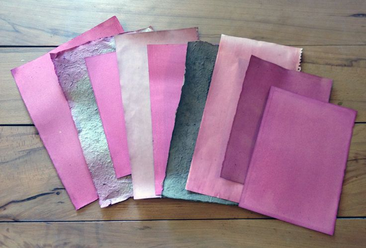 Selection of papers coated with one and two layers of beetroot dye