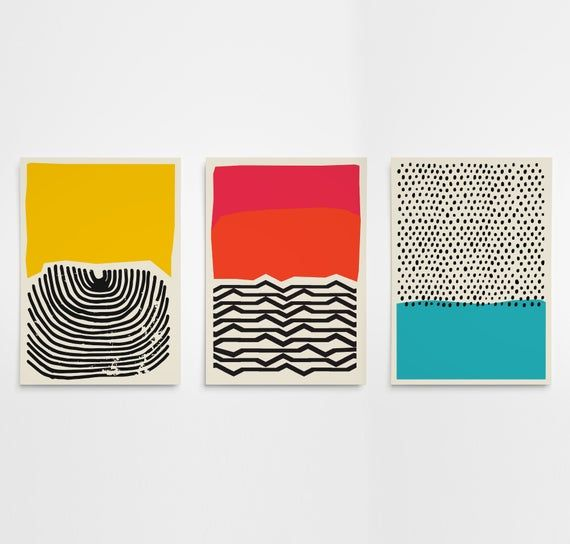 Set Of Three Prints At More Affordable Price We Print Each Poster On Premium 170gsm Satin Paper For Sharp With Images Art Print Set Mid Century Modern Art Abstract Prints