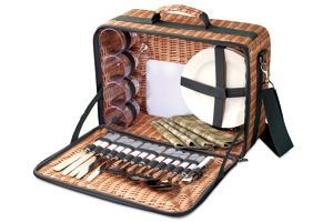 AUSTIN - NEW PRODUCT! Complete picnic set for 4 people. Stainless steel cutlery, cheese knife, bottle opener, PS plates, plastic wine glasses, cotton napkins, cutting board. Presented in bag with rattan imprint. For more great ideas contact john@fortunemarketing.ie