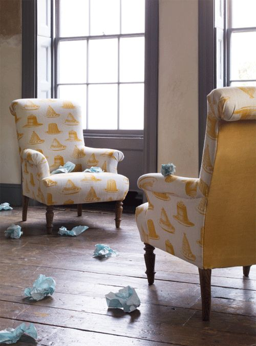 Sofa.com's Jethou armchair in Jelly and Cake (in mustard) with Sunshine velvet on the back.