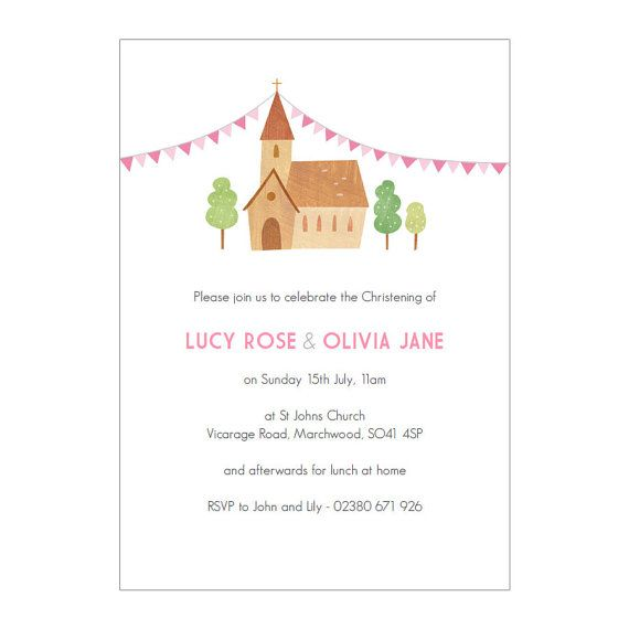 Personalised Twin's Christening Invitations more by MadeByEllis