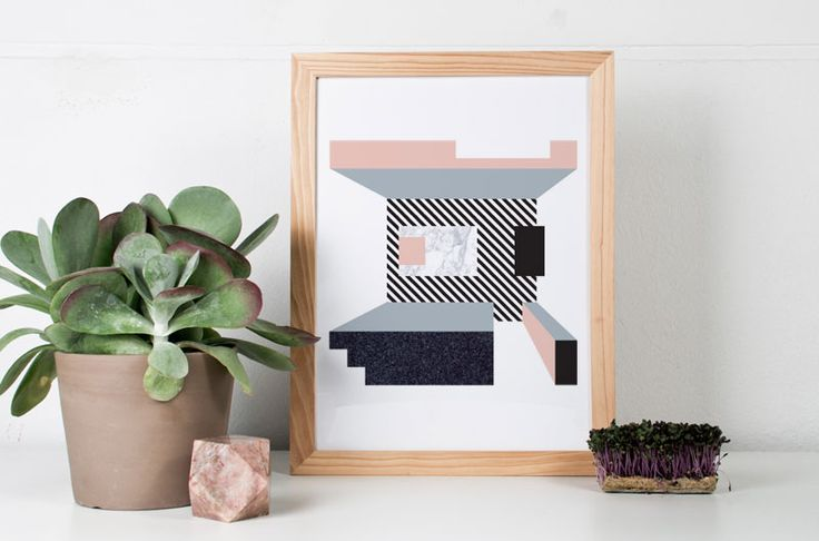 illustration by Julia Kaiser #material #symmetry #architecture #perspective #geometrical #shape #geometry #minimalism #interior #marble #concrete #stone #wood #artprint #limitededition