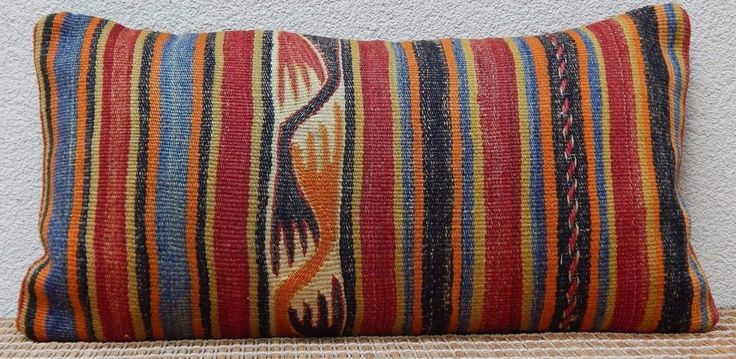 12x24'' Body Pillow Cover,Outddoor Decorative Throw Pillows,Long Kilim Cushion #Handmade