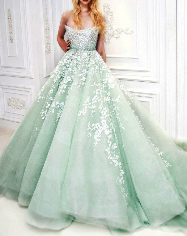 Mint green silk couture designer evening dress ball gown with white applique flowers (mw)