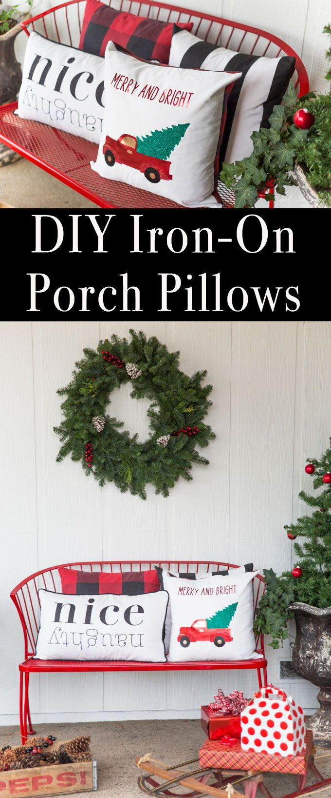 Create these festive and beautiful DIY Christmas pillows with custom iron-on designs. #cricut #ad #home #decor #home