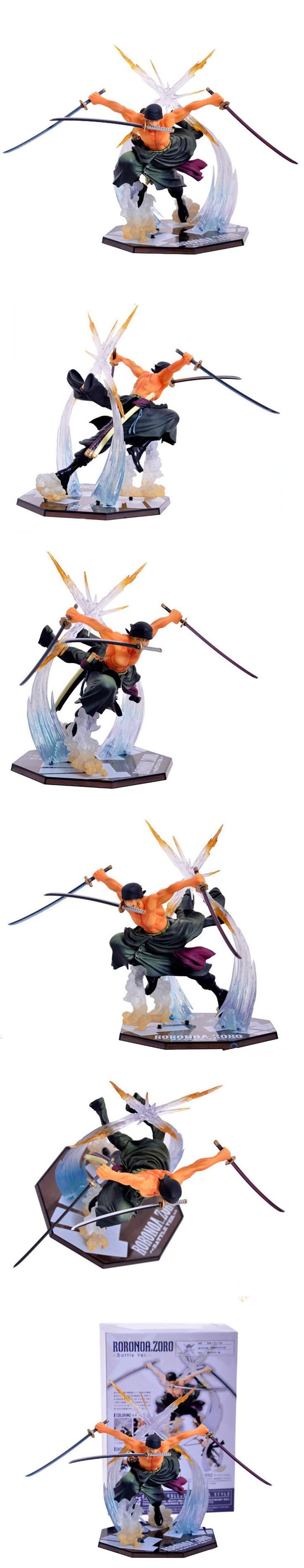 Anime One Piece Figurine Zoro 21cm Fighting Roronoa Zoro Swords Action Figure Model Toys Dolls Cool Kids Gift Home Decor $20.81