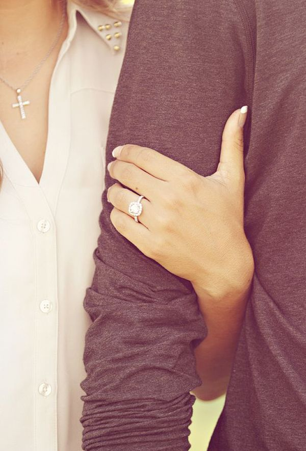 15 Most Creative Engagement Announcement Photos - Praise Wedding. Couple really cute ones. Tying a knot. Hand on arm. I said yes sign.