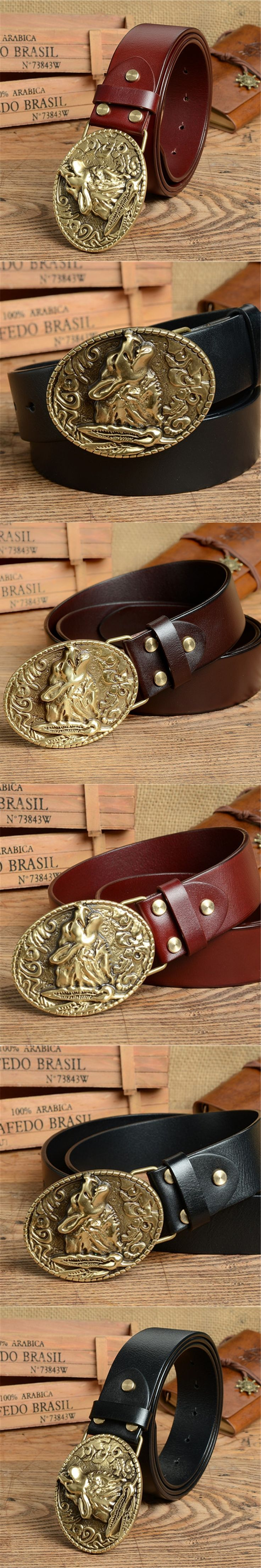 Wolf Belt Buckle Mens Belts Luxury Men Belt Genuine Leather Cowboy Jeans Belt Ceinture Homme Male Strap Cinturones MBT0386