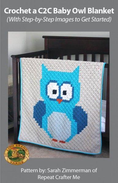 Crochet owl baby blanket.  In shades of purple?