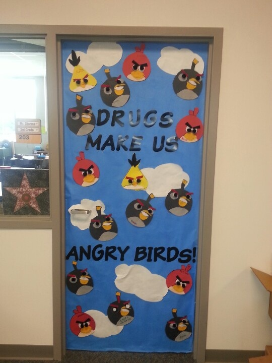 Angry Birds Decorated Door Red Ribbon Week Pinterest