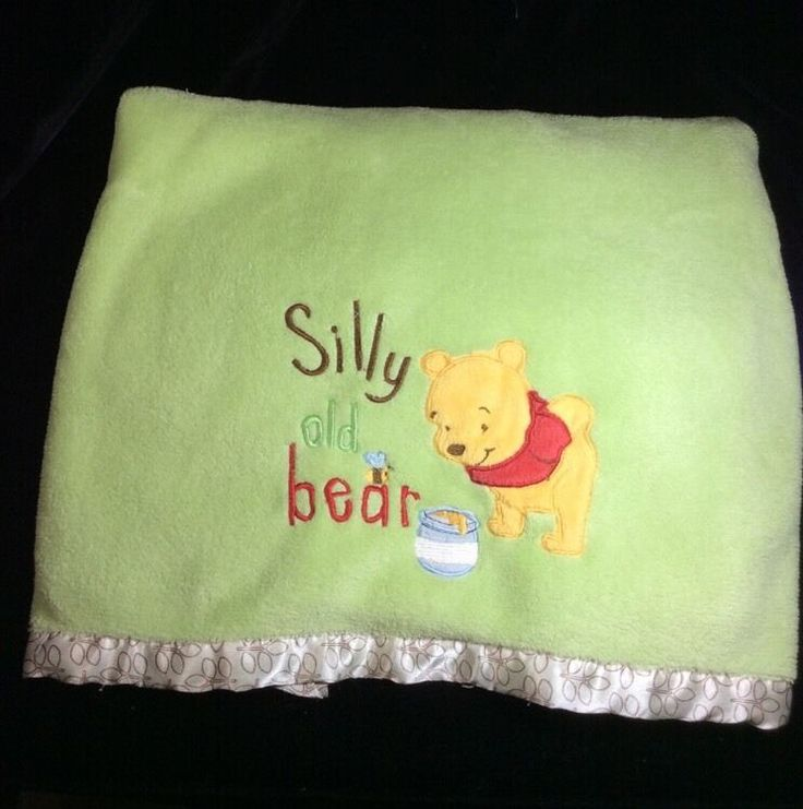 Disney Winnie The Pooh Green Silly old Bear Plush Baby Blanket #Disney