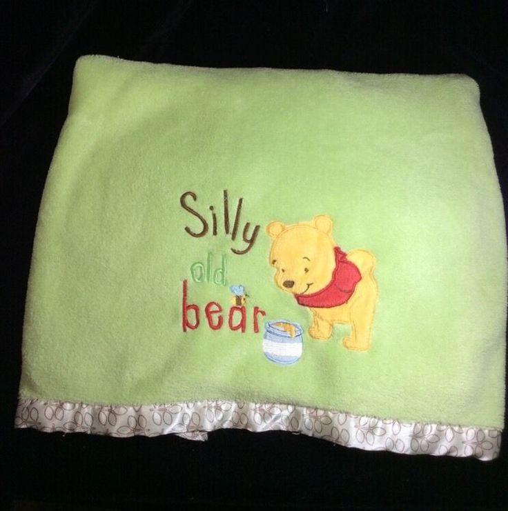 Disney Winnie The Pooh Green Silly old Bear Plush Baby Blanket #Disney