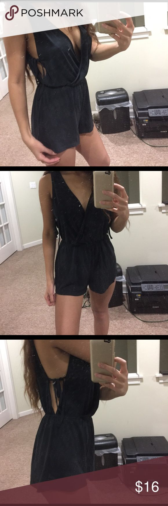 Forever 21 Romper Suede material, only worn once, navy blue with opening & adjustable strings on side Forever 21 Shorts