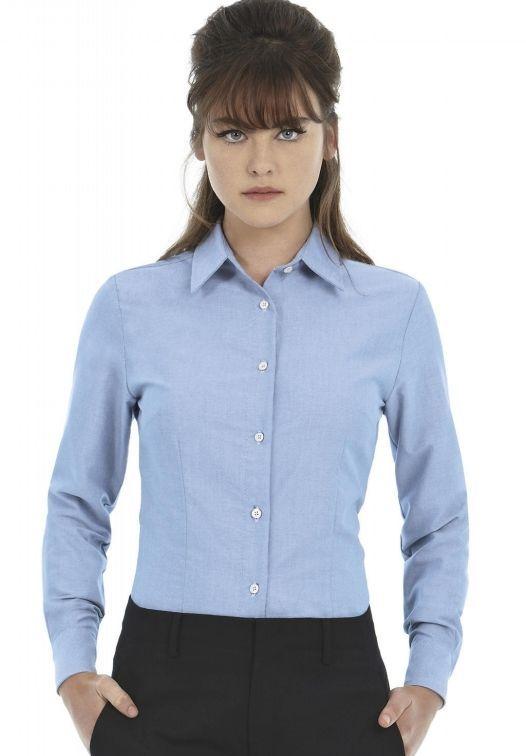 B&C Camicia aziendale donna cotone Oxford  Manica lunga Tinta unita Stiro facile