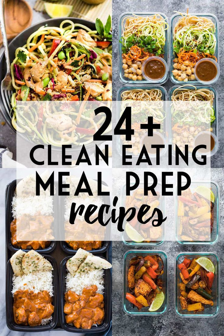 More than 24 clean eating meal prep ideas full of fresh, wholesome ingredients that are easy to prep ahead for healthy lunches and dinners through the week.