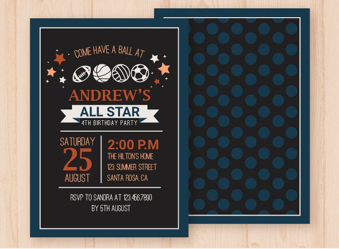 Sports Birthday Invitation/All Star Birthday Invitation/All Stars Birthday/Sports Birthday Theme/Football-Baseball-Basketball-Soccer by PaperandPrintables on Etsy
