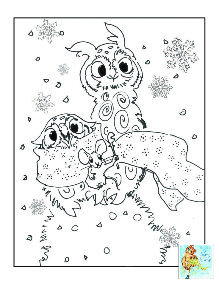 Have fun with Hoot and Peep in the snow with these adorable coloring pages!