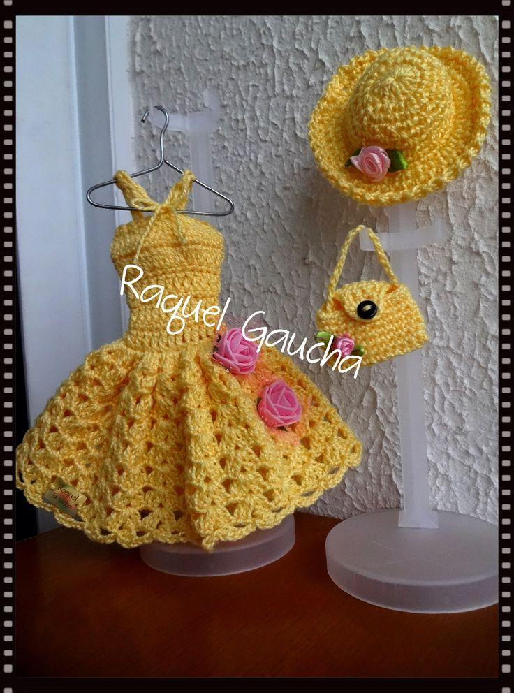 #CamilaFashion #Crochet #Barbie #Doll #Muñeca #Vestido #Dress #Purse #Bolsa #Hat #Chapéu #Sombrero #RaquelGaucha