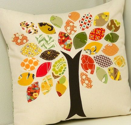 living room couch pillows?: Trees Pillows, Sewing, Ideas, Fall Pillows, Fabrics Scrap, Cushions, Fall Trees, Scrap Fabrics, Diy Pillows