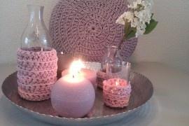 Rond zpagetti gehaakt kussen, paars-roze