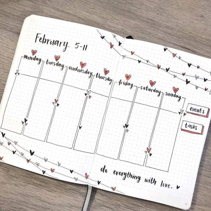 Find inspiration for your Valentine's themed bullet journal spreads in this article! – Weekly spread by @amandarachlee – Mara