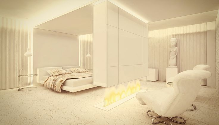 Modern bedroom with fireplace