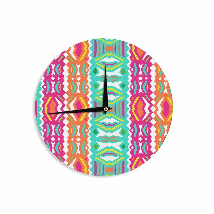 "Miranda Mol ""Ethnic Summer"" Green Orange Wall Clock"