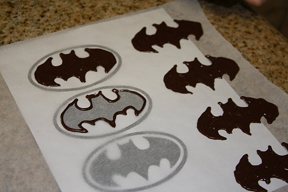 chocolate stencil for batman cupcakes or cookies - pipe on parchment or waxed paper