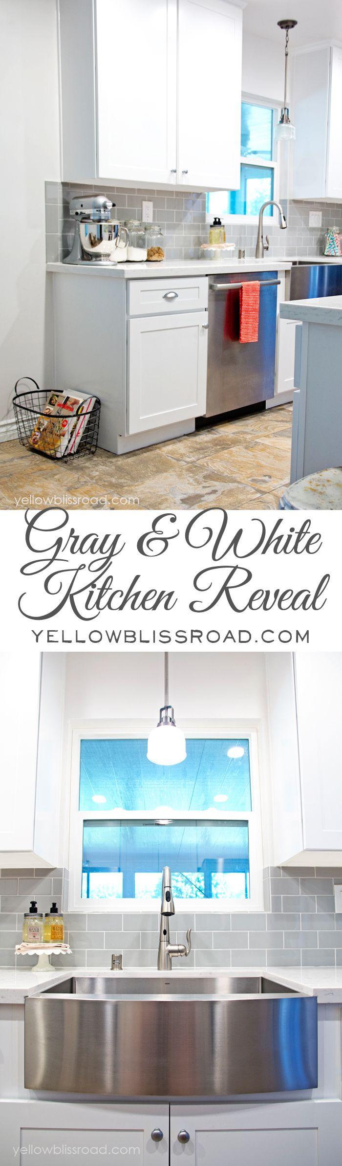 Gray and White Kitchen Reveal on Yellow Bliss Road - LOVE this gorgeous kitchen!