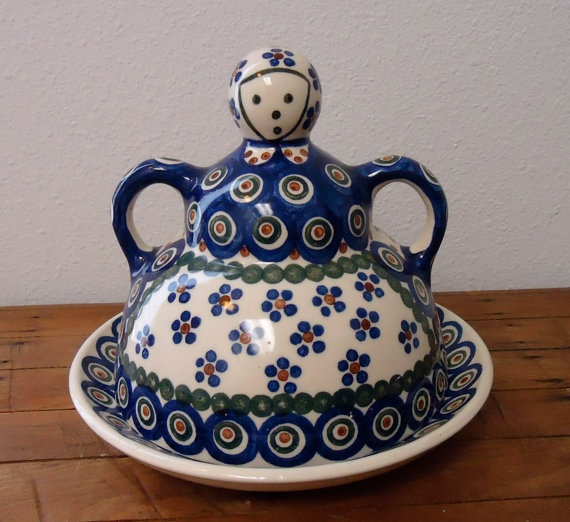 Vintage Polish Cheese Keeper Lady Dish