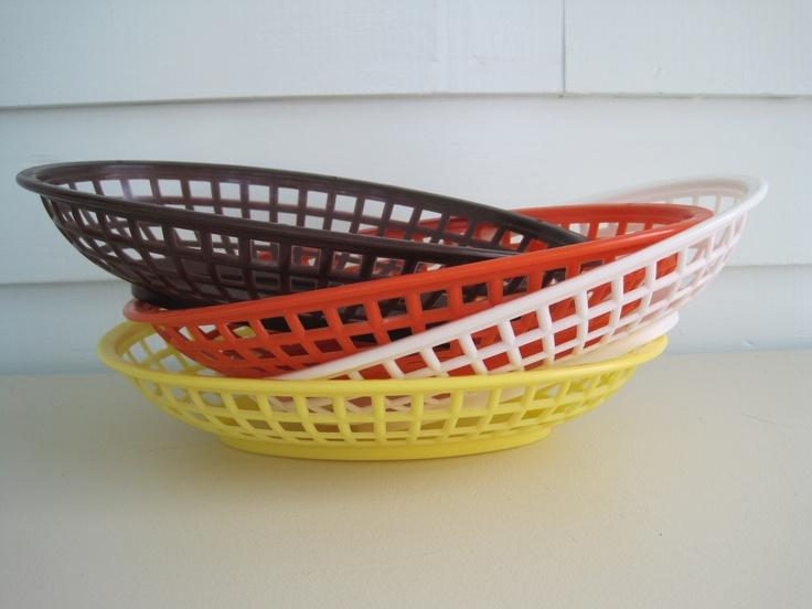 Vintage Plastic Baskets--Set of Four Burger Baskets 70S Colors Orange Yellow White and Brown Vintage Serving Vintage Storage Vintage Decor