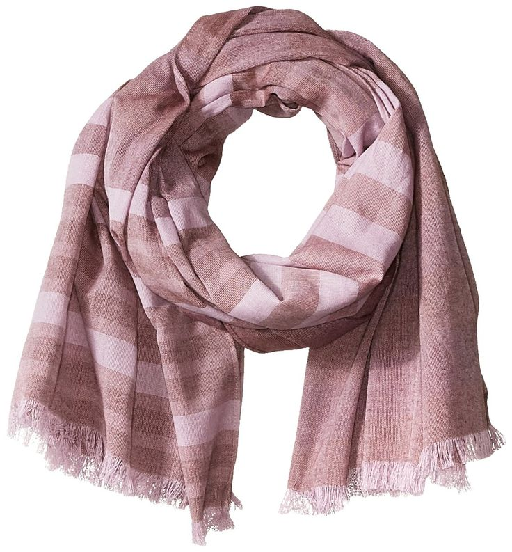 prAna Women's Arwen Scarf, Raisin, One Size. Organic cotton yarn dye scarf with raw edge fringe. Multi color stripe that matches to any outfit. Made at a fair Trade factory.