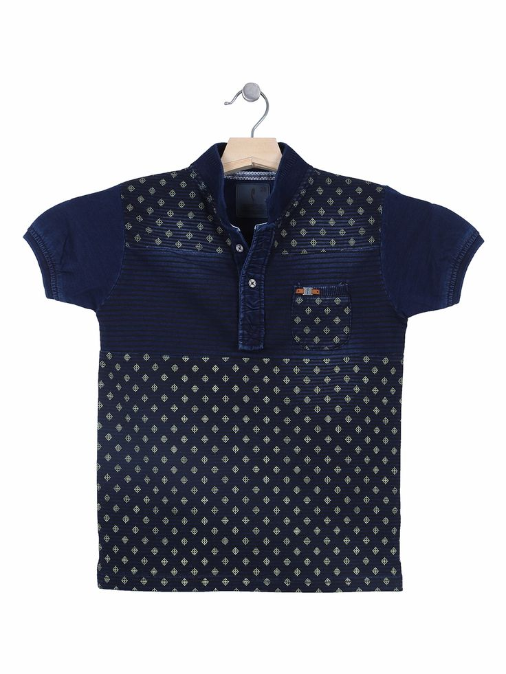 Stride Navy Printed Cotton Casual Wear T Shirt