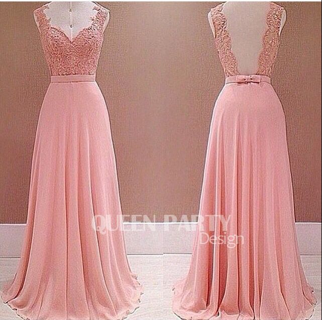 Pink Chiffon Lace Appliques Evening Dress With Floor Length