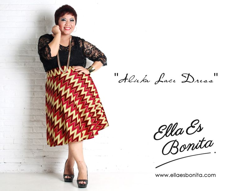 Alieka Lace Dress - This vintage batik lace dress features high quality brocade lace for the tops and batik cotton for the skirt which specially designed for sophisticated curvy women originally made by Indonesian Designer & Local Brand: Ella Es Bonita. Available at www.ellaesbonita.com