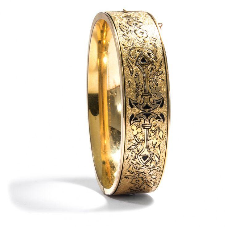 Meine Hoffnung und meine Freude - Gravierter und emaillierter Gold-filled Armreif der Jahre um 1930 von Hofer Antikschmuck aus Berlin // #hoferantikschmuck #antik #schmuck #antique #jewellery #jewelry