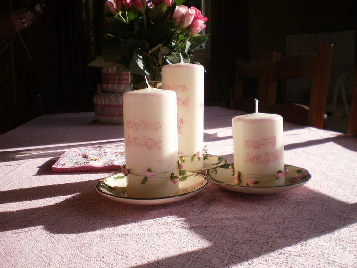 Lag dine egne lys med stempel og stempelfarge. / Make your own candle decor