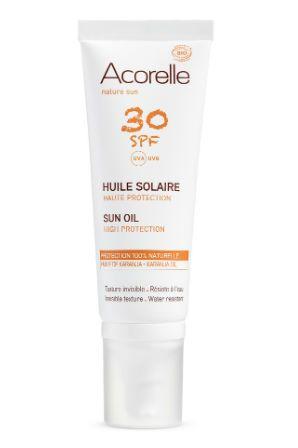 Crème solaire 2016 : Huile solaire haute protection Acorelle