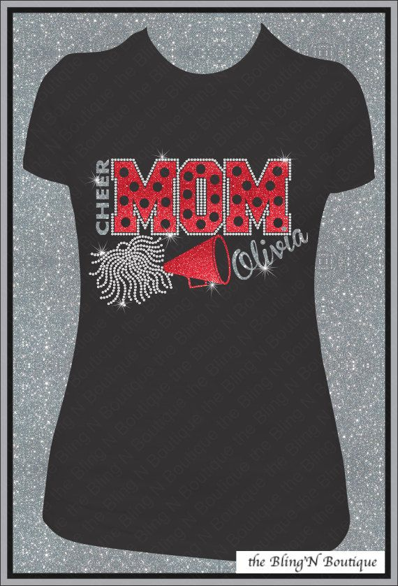 Cheer Mom Custom Name Glitter and  Rhinestone Shirt, Cheer Mom Shirts, Bling Spirit Mom Shirts