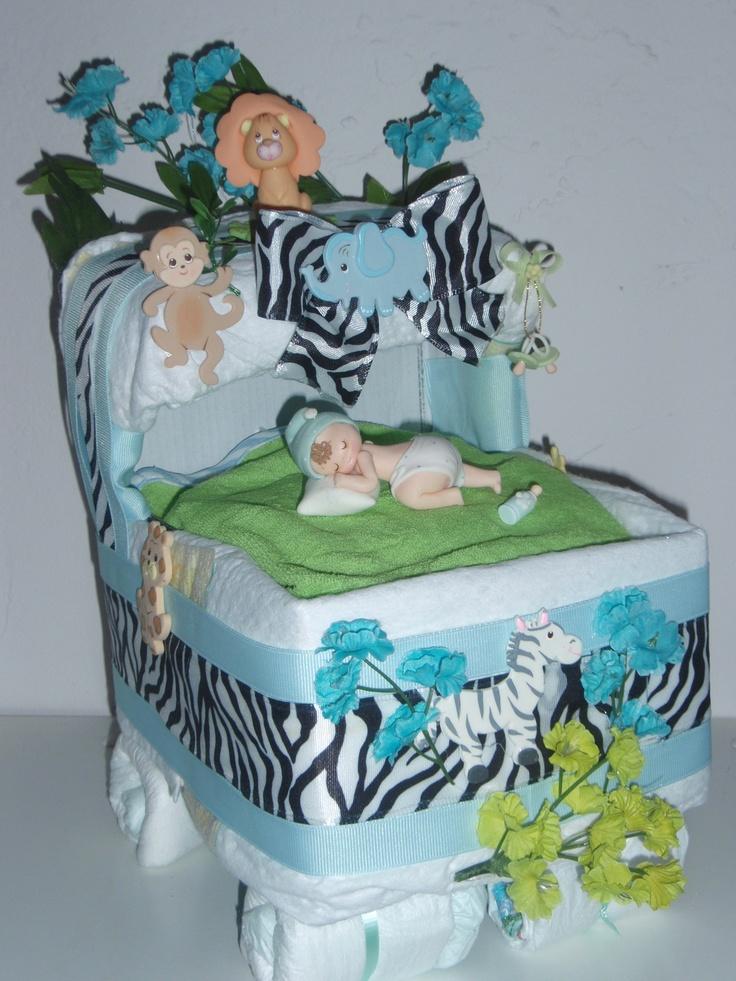Baby Diaper Cake Roses For Boy Bassinet Baby Shower