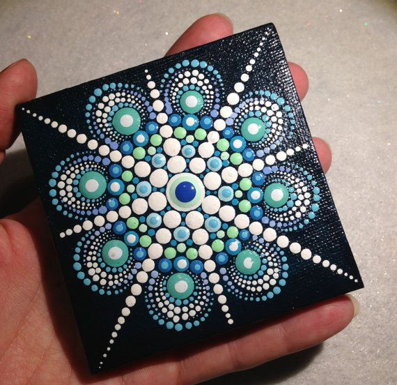 Pintura de Mandala azul original sobre lienzo pintura