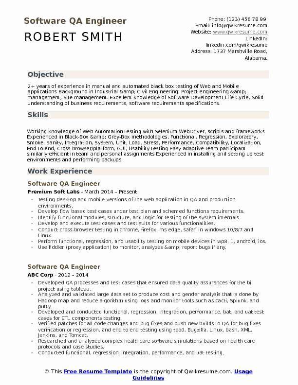 Software Testing Engineer Resume Unique Software Qa Engineer Resume Samples Resume Software Software Testing Resume Objective Sample