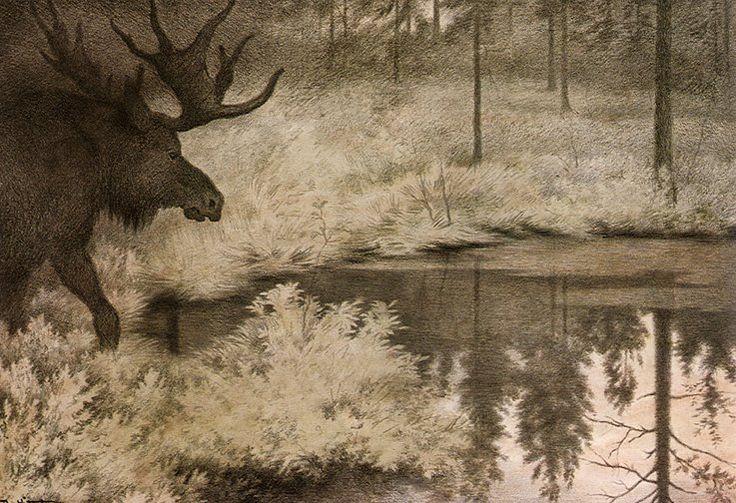 vandrare:  Theodor Kittelsen: jeg gå til skjulte kilder og tjern, I go to the hidden springs and ponds.