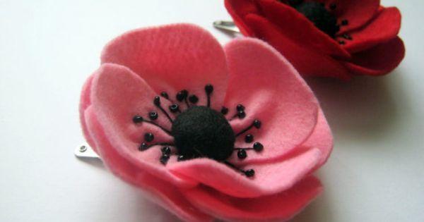 Pasadores de  amapolas | cosas de fieltro | Pinterest | Felt Hair Clips, Pink Poppies and Hair Clips